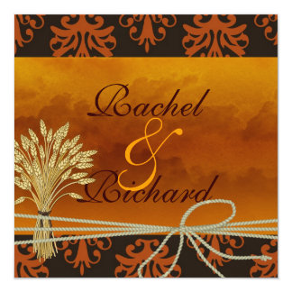 "Fall CLASSY DAMASK Wedding INVITATION 5.25"" Square Invitation Card"