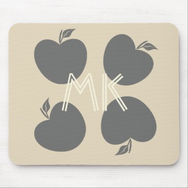 Beach Themed Fall Collection  Grey Beige Apples  Mousepad