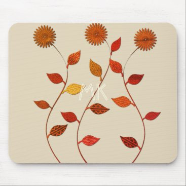 Beach Themed Fall Collection Orange Red Leaf Flower Mousepad
