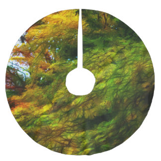 Fall Color Abstract Brushed Polyester Tree Skirt