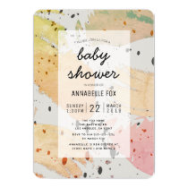 Fall Color Abstract Pattern Baby Shower Invitation