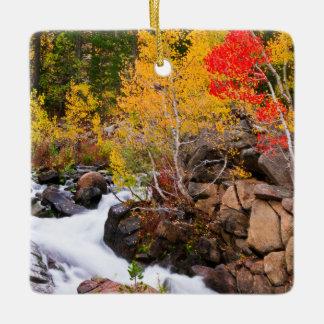 Fall color along Bishop Creek, CA Ceramic Ornament