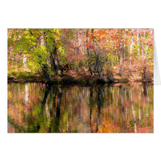 FALL COLOR ALONG RIVER BANK REFLECTED IN WATER CARD