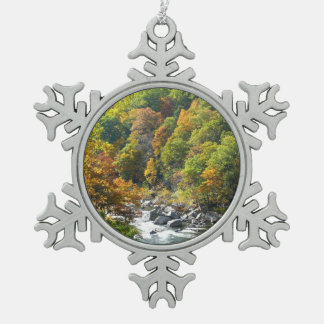Fall Color at Ohiopyle State Park Snowflake Pewter Christmas Ornament