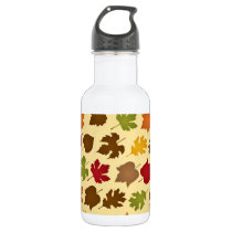 Fall Color Autumn Leaves Pattern Water Bottle