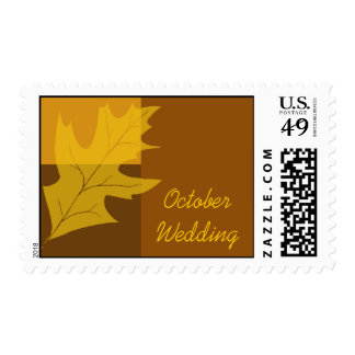 Fall Color Block October Wedding Postage Stamp