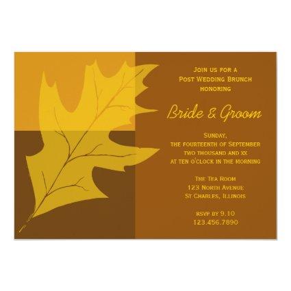 "Fall Color Block Post Wedding Brunch Invitation 5"" X 7"" Invitation Card"