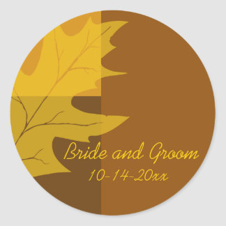 Fall Color Block Wedding Envelope Seals Classic Round Sticker