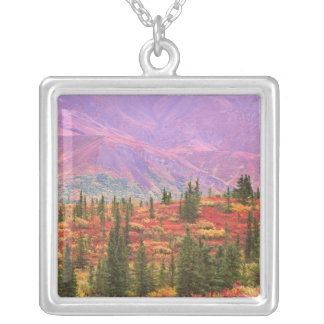 Fall color in Denali National Park Square Pendant Necklace