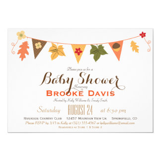 Fall Color Leaves Bunting Flag Baby Shower Card