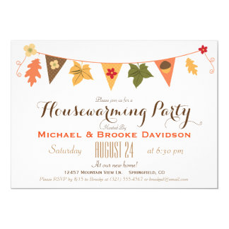 Fall Color Leaves Bunting Flag Housewarming Party Card