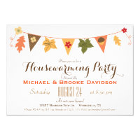 Fall Color Leaves Bunting Flag Housewarming Party Invitation
