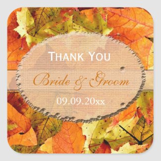 fall color leaves wedding favor thank you