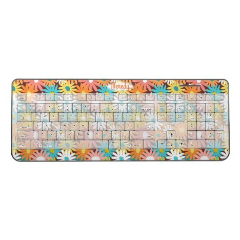 Fall colored daisies design wrapped on this wireless keyboard