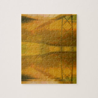 Fall Colored Landscape Overlay with Bridge Jigsaw Puzzle