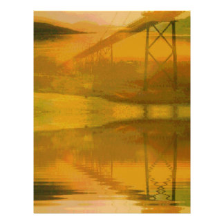 Fall Colored Landscape Overlay with Bridge Letterhead