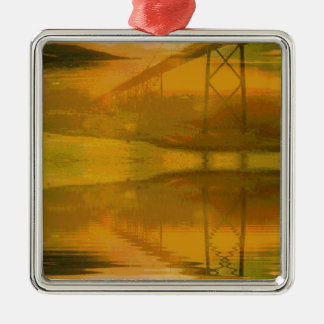 Fall Colored Landscape Overlay with Bridge Metal Ornament
