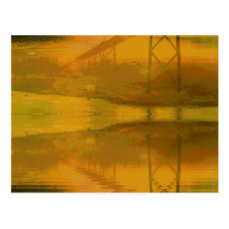 Fall Colored Landscape Overlay with Bridge Postcard