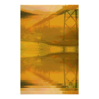 Fall Colored Landscape Overlay with Bridge Stationery