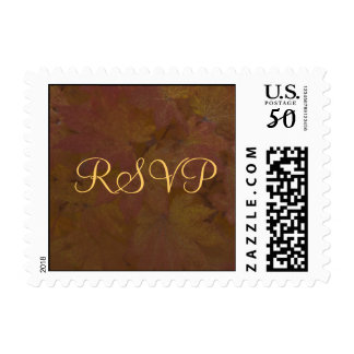 Fall Colored Maple Leaves Wedding RSVP Postage