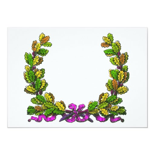 Fall colored wreath and purple ribbon custom announcements