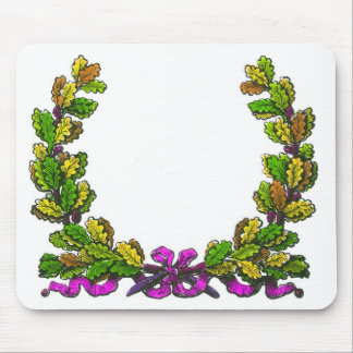 Fall colored wreath and purple ribbon mouse pads