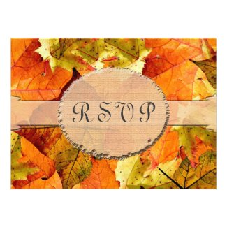 Fall colorful leaves RSVP wedding invitations.
