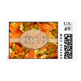 Fall colorful leaves RSVP wedding stamps.