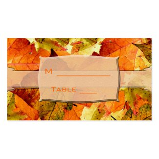 fall colorful leaves wedding dinner table number