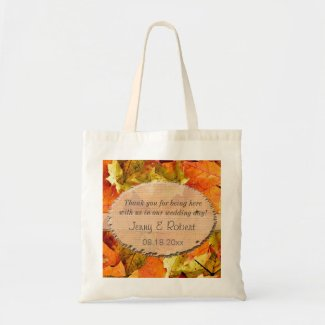 fall colorful leaves wedding favor thank you