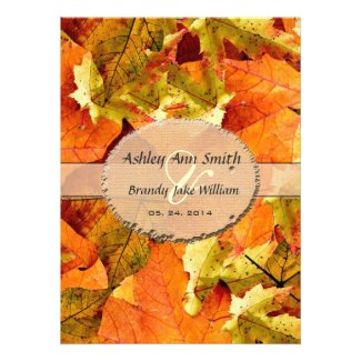 Fall colorful leaves wedding invitations