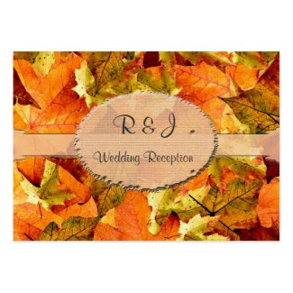 Fall colorful leaves wedding reception cards. business cards