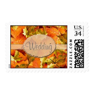 Fall colorful leaves wedding stamps.