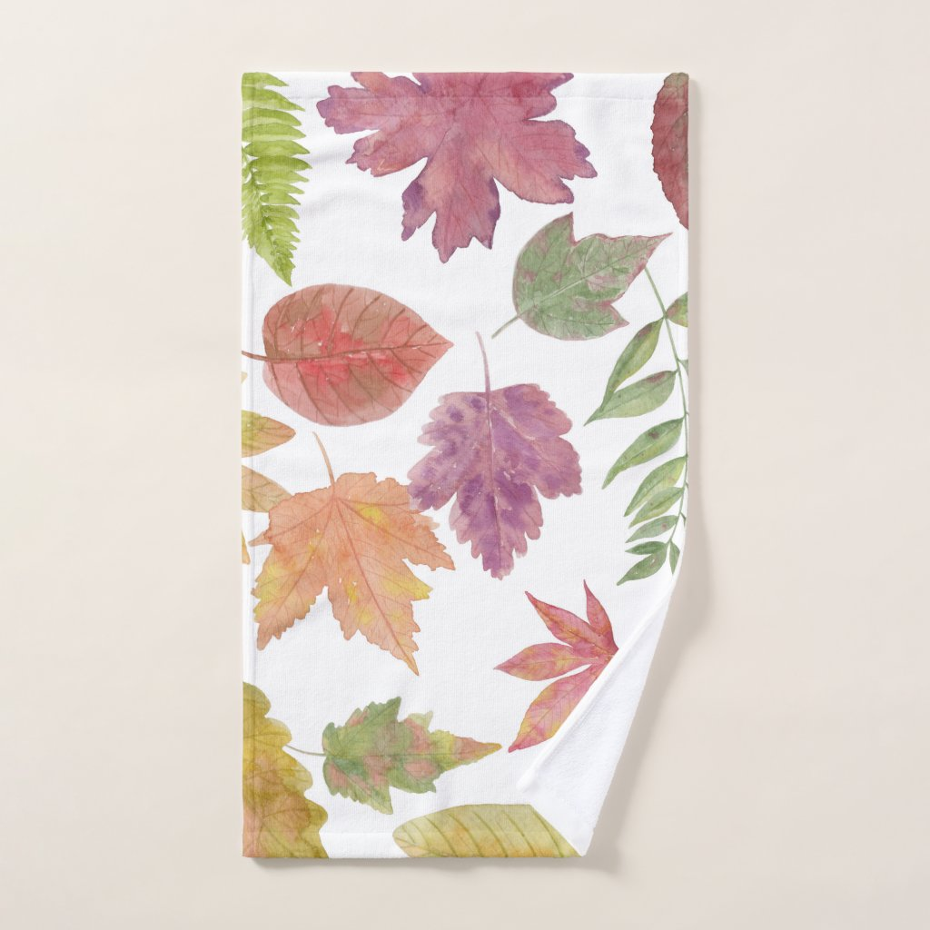 Fall colorful watercolor leaves modern bath decor hand towel