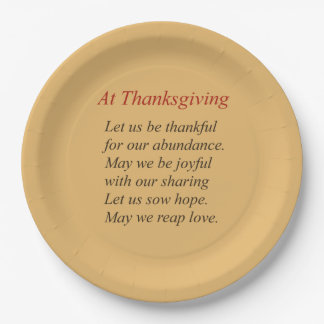 Fall Colors At Thanksgiving Poem Paper Plate