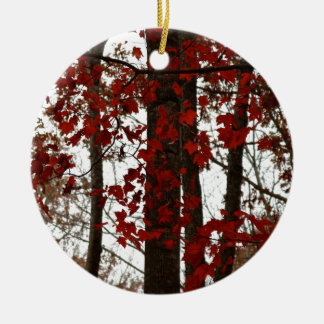Fall Colors Autumn Trees Red Canadian Maple Leaves Ceramic Ornament