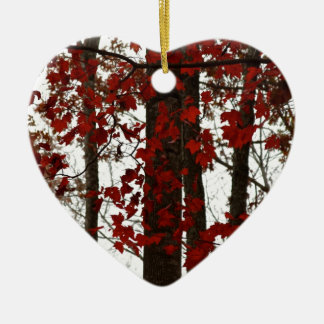 Fall Colors Autumn Trees Red Canadian Maple Leaves Double-Sided Heart Ceramic Christmas Ornament