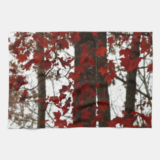 Fall Colors Autumn Trees Red Canadian Maple Leaves Hand Towel