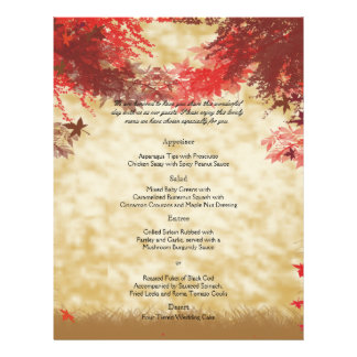 Fall Colors: Burgundy and Red Branch Wedding Menu Flyer Design