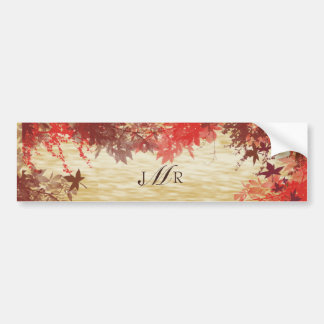 Fall Colors: Burgundy and Red Branch with Monogram Car Bumper Sticker