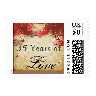 Fall Colors Burgundy and Red Branches Love Stamp
