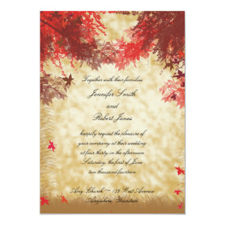 Fall Colors: Burgundy and Red Branches on Ecru Invitations