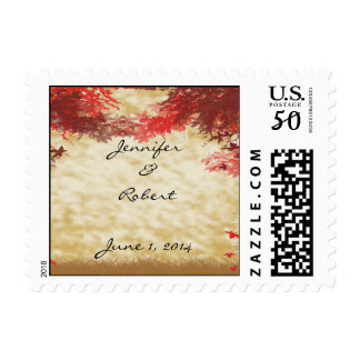 Fall Colors: Burgundy and red Branches on Ecru Postage