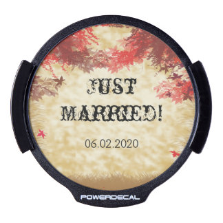 Fall Colors: Burgundy and Red Wedding Car Decal LED Window Decal