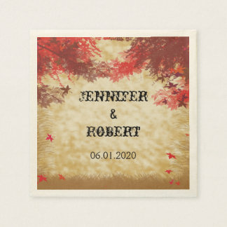 Fall Colors: Burgundy and Red Wedding Napkin