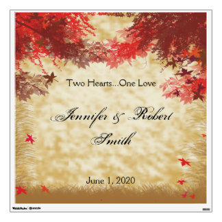 Fall Colors: Burgundy and Red Wedding Wall Cling Wall Sticker