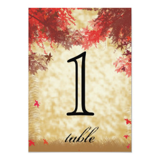 Fall Colors Burgundy Red Anniversary Table Number