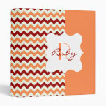 Fall Colors Chevron Personalized Monogram 3 Ring Binders