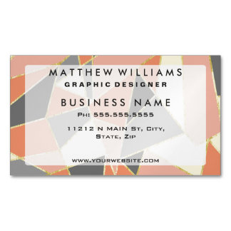 Fall Colors Geometric with Faux Gold Outline Magnetic Business Cards (Pack Of 25)