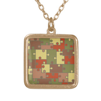 Fall Colors Gold Puzzle Necklace -by Fern Savannah